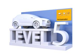 自動運転レベル分類のコンセプト。ドライバーが操縦不要のレベル5、完全自動化の写真素材 [FYI04665823]