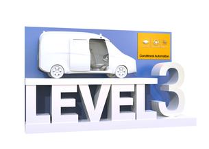 自動運転レベル分類のコンセプト。ドライバーが一時的操縦不要のレベル3、条件付き自動化の写真素材 [FYI04665828]