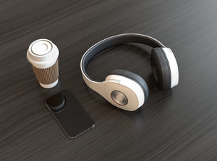 ワイヤレスヘッドホンとスマートフォンの写真素材 [FYI04665853]