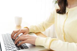 パソコンで入力する女性の写真素材 [FYI04665907]