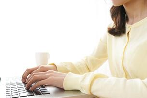 パソコンで入力する女性の写真素材 [FYI04665938]