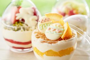 イースターエッグスイーツ-卵型ミニケーキの写真素材 [FYI04666184]