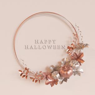 Halloween,Pumpkin,Metallic,wreath,flame,CG,カボチャ,リース,フレーム,金属_titleのイラスト素材 [FYI04666472]