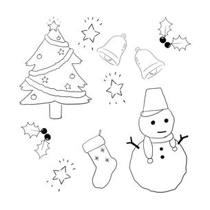 クリスマス素材手描き線画セットのイラスト素材 [FYI04667142]