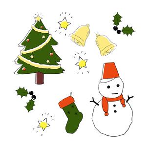 クリスマス素材手描き線画セットのイラスト素材 [FYI04667143]