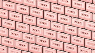 Many baby pink cassette tapes on black background.3d illustration for background.のイラスト素材 [FYI04667202]