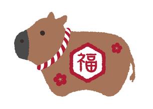 2021 令和三年 丑年 年賀状素材 / 牛の置物イラスト (福)のイラスト素材 [FYI04667585]