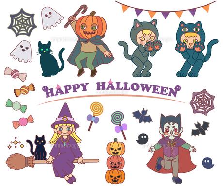 ハロウィンの仮装をしている子ども達のイラスト素材 [FYI04667618]