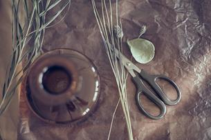 ワックスペーパーの上にあるドライフラワーと花器とハサミの写真素材 [FYI04667667]