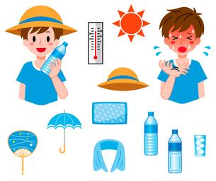 熱中症対策、男の子のセットのイラスト素材 [FYI04667737]
