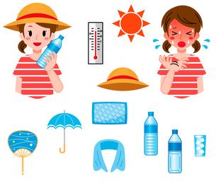 熱中症対策、女の子のセットのイラスト素材 [FYI04667765]