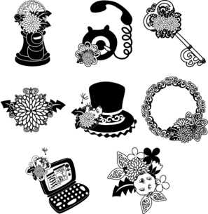 ポストと電話と鍵とパソコンとシルクハットとリースなどの、可愛いたんぽぽのアイコンいろいろのイラスト素材 [FYI04668084]