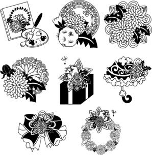 カンバスとリボンとプレゼントと日傘とリースなどの、可愛いたんぽぽのアイコンいろいろのイラスト素材 [FYI04668085]
