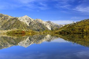 紅葉の八方池と白馬三山の写真素材 [FYI04668284]