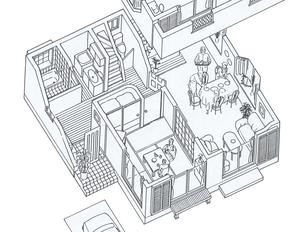住宅パース 1階 カンプのイラスト素材 [FYI04668877]