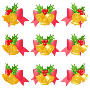 クリスマス リボンとヒイラギで飾られたベル (1) 9点セット カット集のイラスト素材 [FYI04669223]
