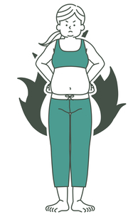 肥満の女性-全身-炎(燃焼・やる気)-2色のイラスト素材 [FYI04669622]