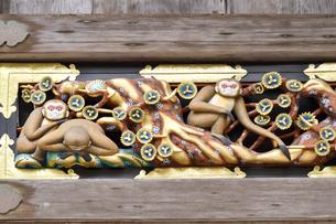 神厩舎 猿の彫刻20の写真素材 [FYI04669880]