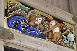 神厩舎 猿の彫刻26の写真素材 [FYI04669886]