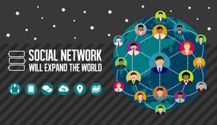 ソーシャルネットワーク(SNS) /イメージバナーのイラスト素材 [FYI04670234]