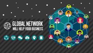 グローバルネットワーク/ビジネスイメージバナーのイラスト素材 [FYI04670235]