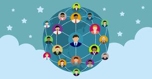 グローバルコミュニケーション・ソーシャルネットワーク(SNS) /イメージバナーのイラスト素材 [FYI04670243]