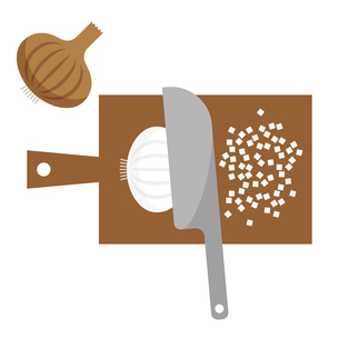 タマネギをみじん切りするイラストのイラスト素材 [FYI04671066]