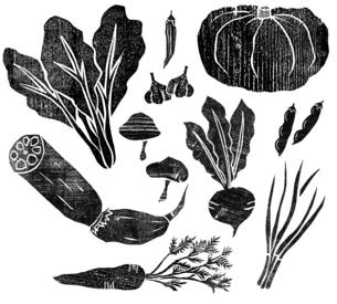 木版の野菜2のイラスト素材 [FYI04671205]