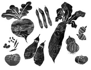 木版の野菜1のイラスト素材 [FYI04671206]