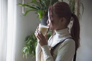 窓辺で手作りジュースのスムージーを飲む若い女性のイメージ写真の写真素材 [FYI04671211]