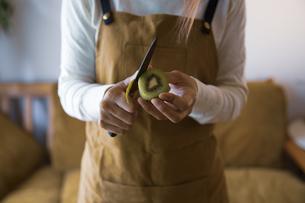 キウイフルーツを包丁で切り、調理する女性の手元の写真素材 [FYI04671237]