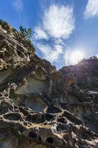 太陽と竜串海岸の様々な奇岩風景の写真素材 [FYI04671275]