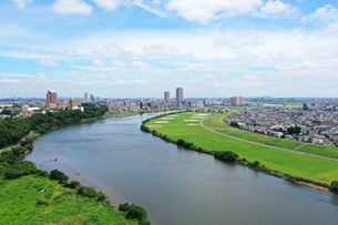 江戸川の空撮の写真素材 [FYI04671322]
