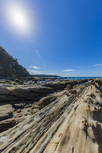 太陽と竜串海岸の様々な奇岩風景の写真素材 [FYI04671330]