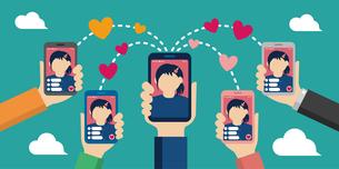 スマートフォン ライブビデオチャット/動画配信アプリ (配信者と視聴者) イメージイラストバナーのイラスト素材 [FYI04671397]
