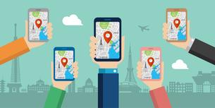 地図アプリを利用して東京観光しているイメージのwebバナー(観光・アプリ・地図・テクノロジー)のイラスト素材 [FYI04671401]