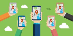 地図アプリを利用して東京観光しているイメージのwebバナー(観光・アプリ・地図・テクノロジー)のイラスト素材 [FYI04671405]