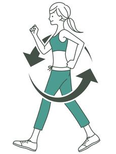 女性-ウォーキング-循環-2色のイラスト素材 [FYI04671438]