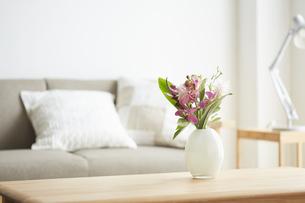 花が飾られている部屋の写真素材 [FYI04671516]