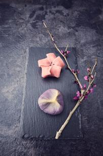 黒い石板に置かれた二つの和菓子と枝の写真素材 [FYI04671548]