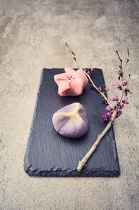 黒い石板に置かれた二つの和菓子と枝の写真素材 [FYI04671549]