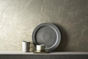 グレートーンでまとめた食器の写真素材 [FYI04671577]