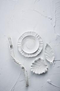 白トーンでまとめた食器と流木の写真素材 [FYI04671585]
