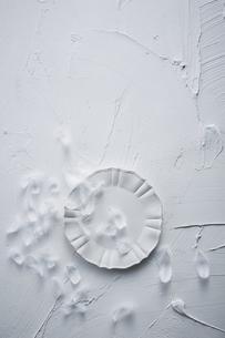 白トーンでまとめた丸い皿と羽の写真素材 [FYI04671587]