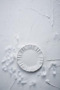 白トーンでまとめた丸い皿と羽の写真素材 [FYI04671588]