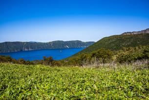 摩周湖と摩周岳、笹原の写真素材 [FYI04671677]