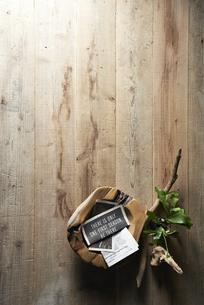 床に置いた植物と流木と木の器の写真素材 [FYI04671691]