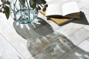 床に置かれた本と花瓶に入った植物の写真素材 [FYI04671714]