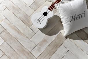 床に置かれたウクレレとクッションの写真素材 [FYI04671722]