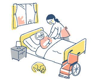 介護イメージ ベッドにいるシニア女性と介護する女性のイラスト素材 [FYI04672111]